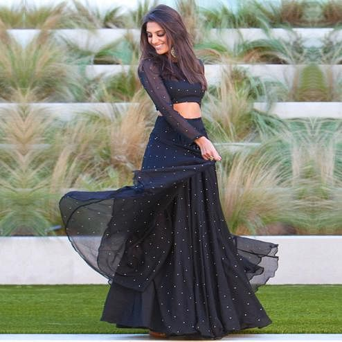 Pretty Black Colored Partywear Pearl Work Georgette Lehenga Choli