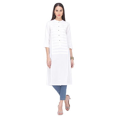 White Crew Neck Stitched Kurti