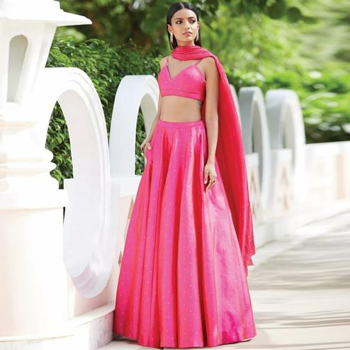 Alluring Light Pink Colored Partywear Pearl Work Tapetta Silk Lehenga Choli