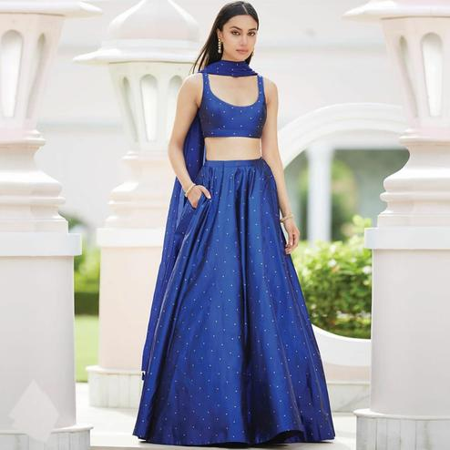 Sensational Blue Colored Partywear Pearl Work Tapetta Silk Lehenga Choli