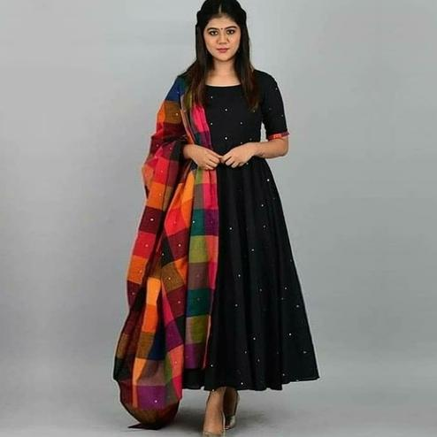 Stunning Black Colored Partywear Pearl Work Rayon Gown With Dupatta