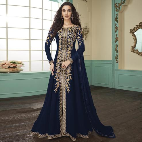 Majesty Navy Blue Colored Partywear Embroidered Georgette Anarkali Suit