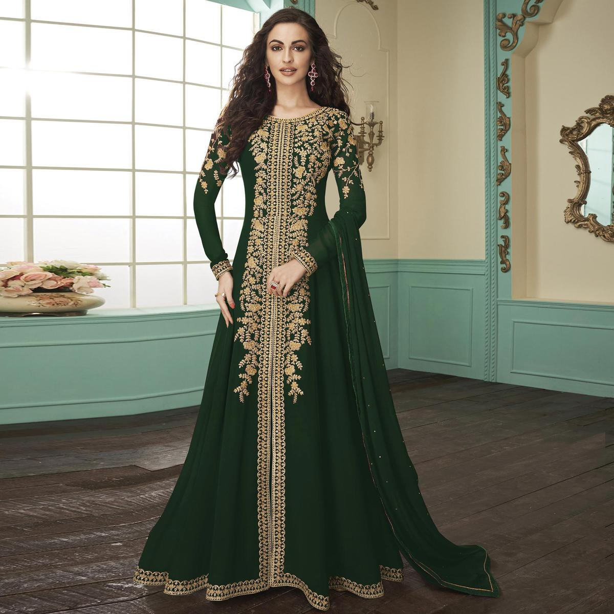 Impressive Green Colored Partywear Embroidered Georgette Anarkali Suit