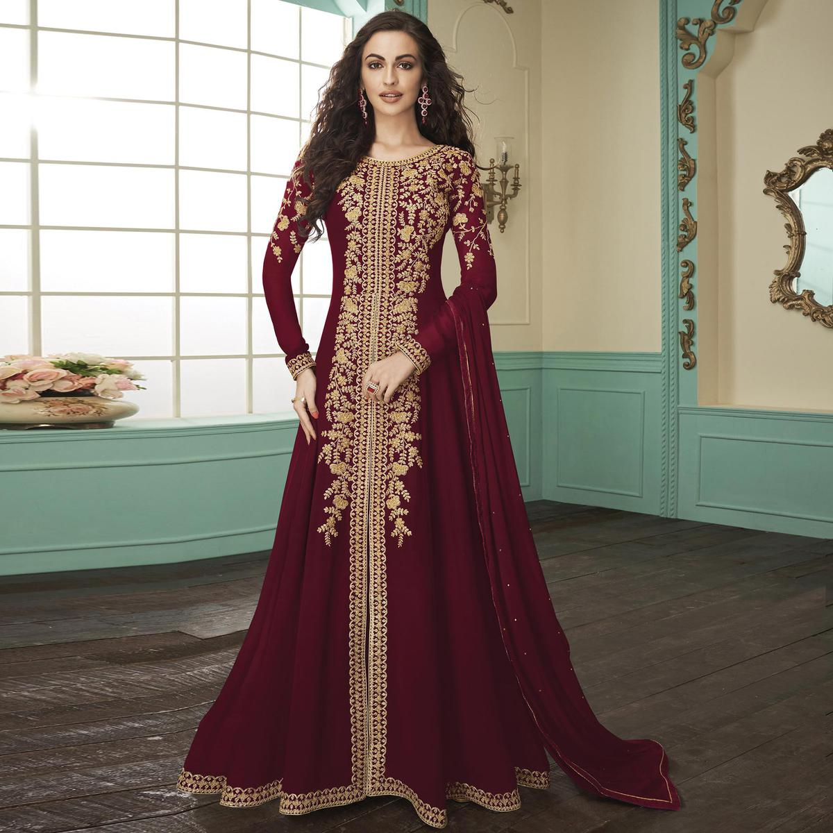 Mesmerising Maroon Colored Partywear Embroidered Georgette Anarkali Suit