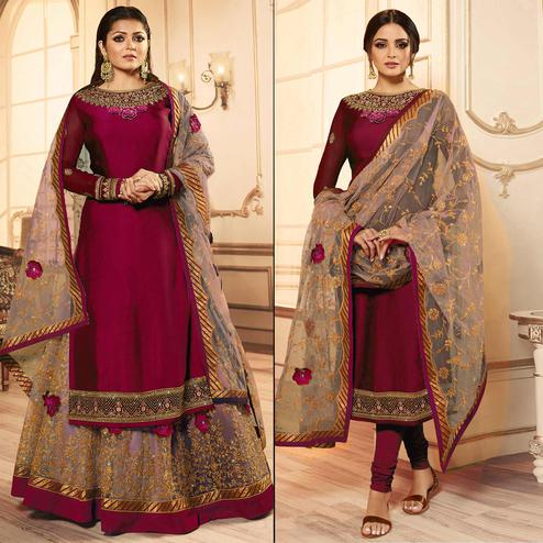 Magnetic Magenta Pink Colored Party Wear Embroidered Georgette Lehenga Kameez