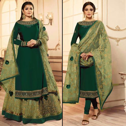 Hypnotic Green Colored Party Wear Embroidered Georgette Lehenga Kameez