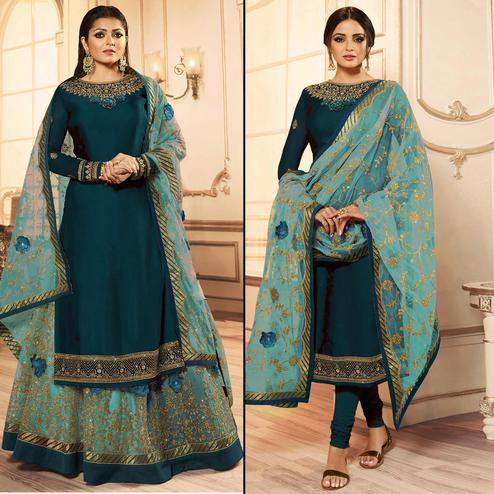 Flattering Teal Blue Colored Party Wear Embroidered Georgette Lehenga Kameez