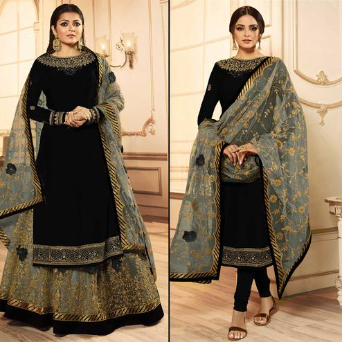 Excellent Black Colored Party Wear Embroidered Georgette Lehenga Kameez