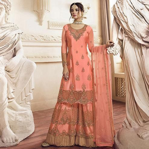 Lovely Peach Colored Party Wear Embroidered net Palazzo Suit
