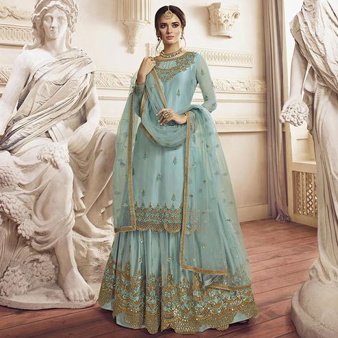 Impressive Sky Blue Colored Party Wear Embroidered Net Palazzo Suit