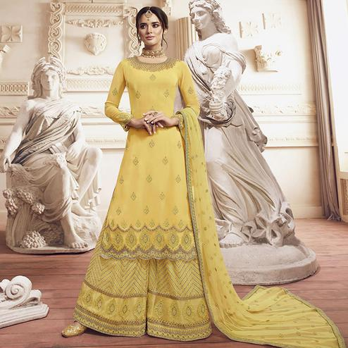 Mesmeric Yellow Colored Party Wear Embroidered Georgette Palazzo Suit