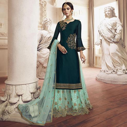 Unique Teal Green Colored Party Wear Embroidered Georgette Palazzo Suit