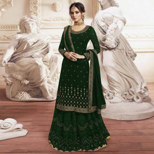 Refreshing Bottle Green Colored Partywear Embroidered Georgette Palazzo Suit