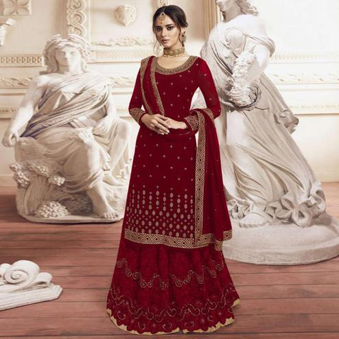 Flattering Maroon Colored Partywear Embroidered Georgette Palazzo Suit