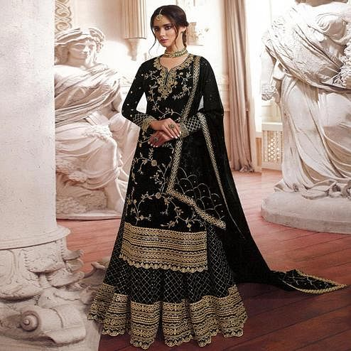 Attractive Black Colored Partywear Embroidered Georgette Palazzo Suit