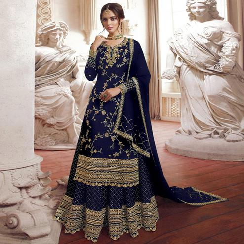 Charming Navy Blue Colored Partywear Embroidered Georgette Palazzo Suit