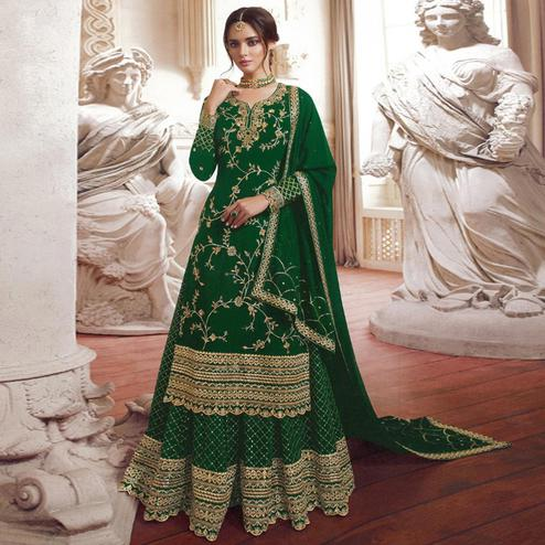Graceful Green Colored Partywear Embroidered Georgette Palazzo Suit