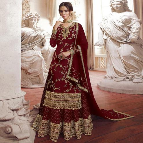 Blooming Maroon Colored Partywear Embroidered Georgette Palazzo Suit