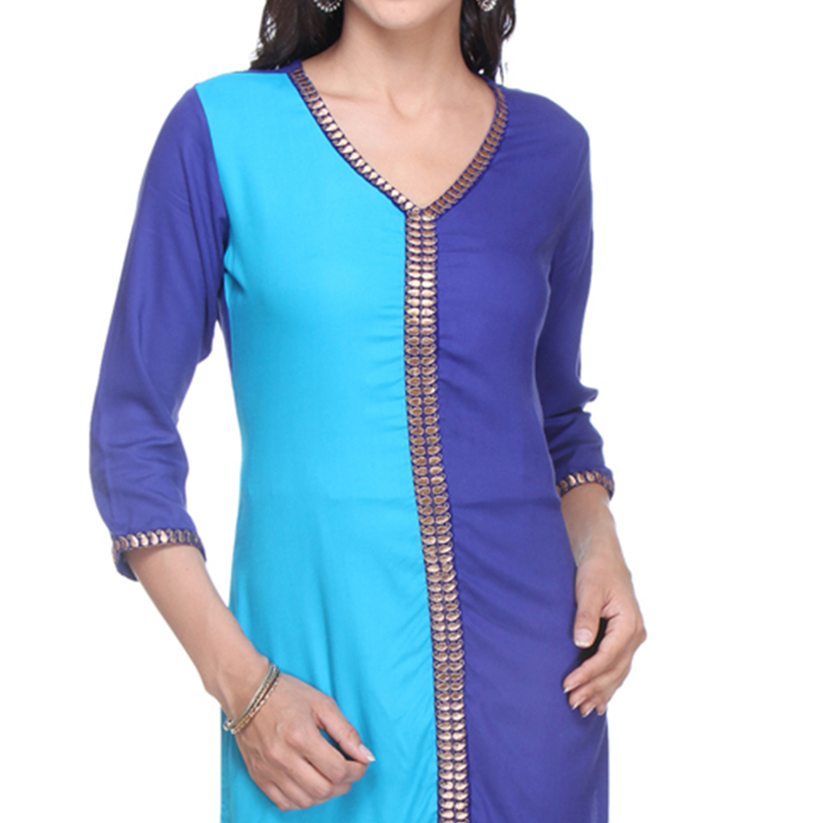 Sky Blue - Navy Blue Casual Wear Rayon Kurti