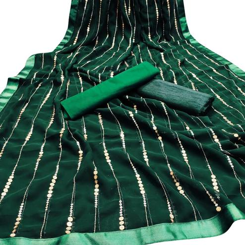 Hypnotic Green Colored Party Wear Embroidered Georgette Saree