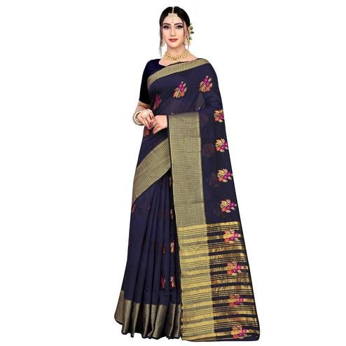 Stunning Navy Blue Colored Festive Wear Woven Meenakari Butta Cotton Silk Saree