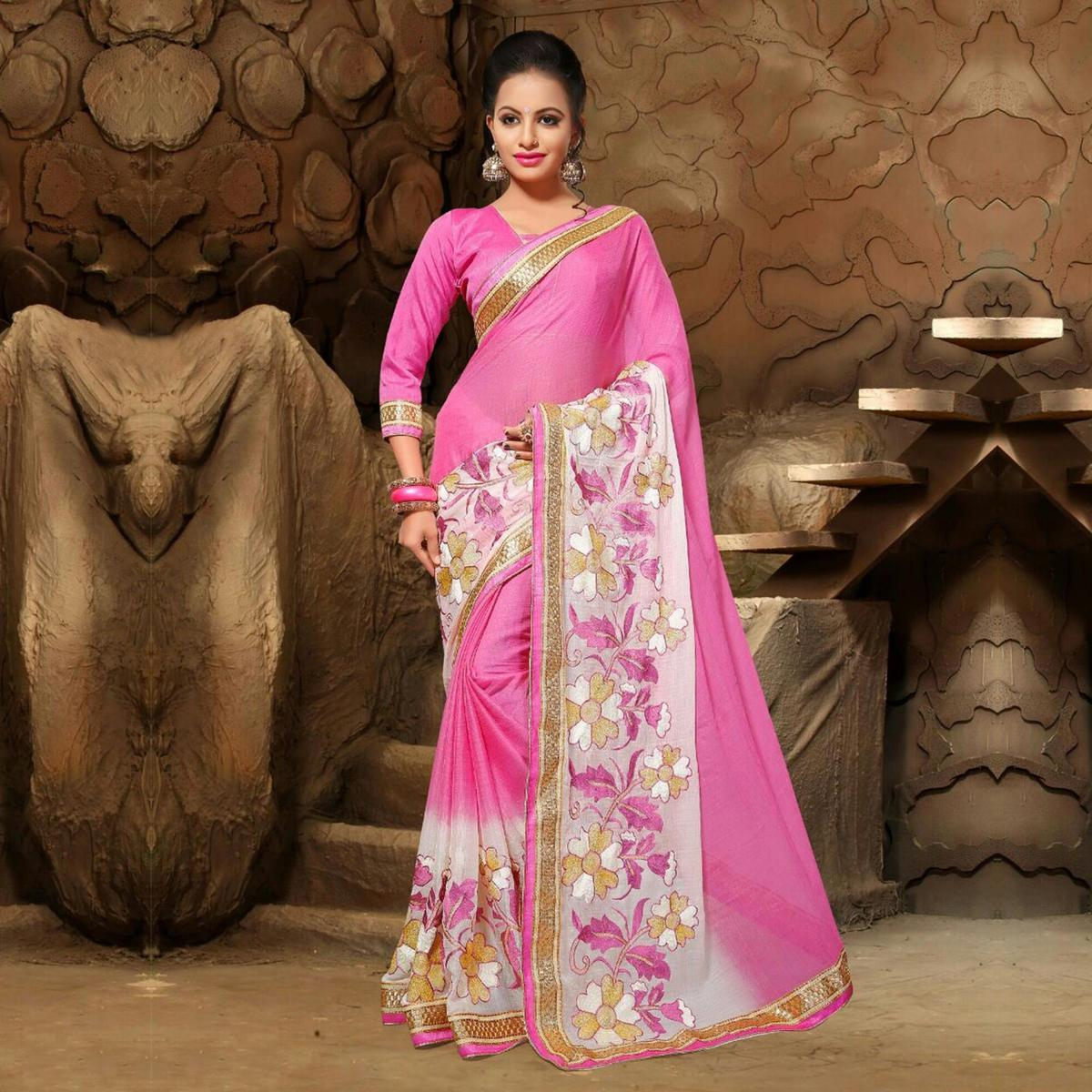 Pink Zari Embroidered Work Saree