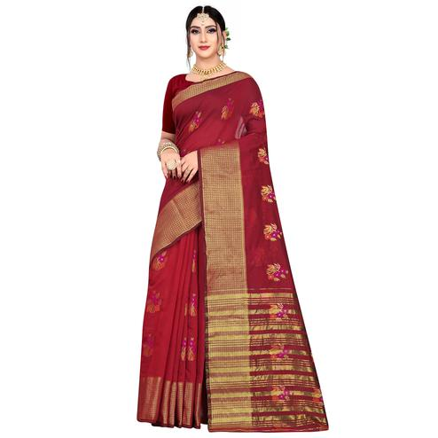 Flattering Maroon Colored Festive Wear Woven Meenakari Butta Cotton Silk Saree