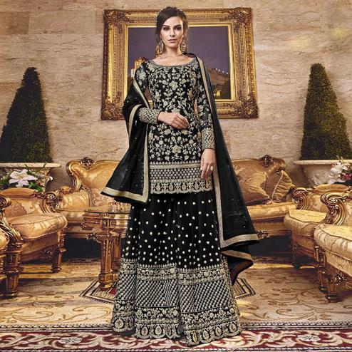Gorgeous Black Colored Party Wear Embroidered Net Sharara Suit