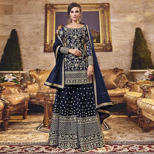 Blissful Navy Blue Colored Party Wear Embroidered Net Sharara Suit