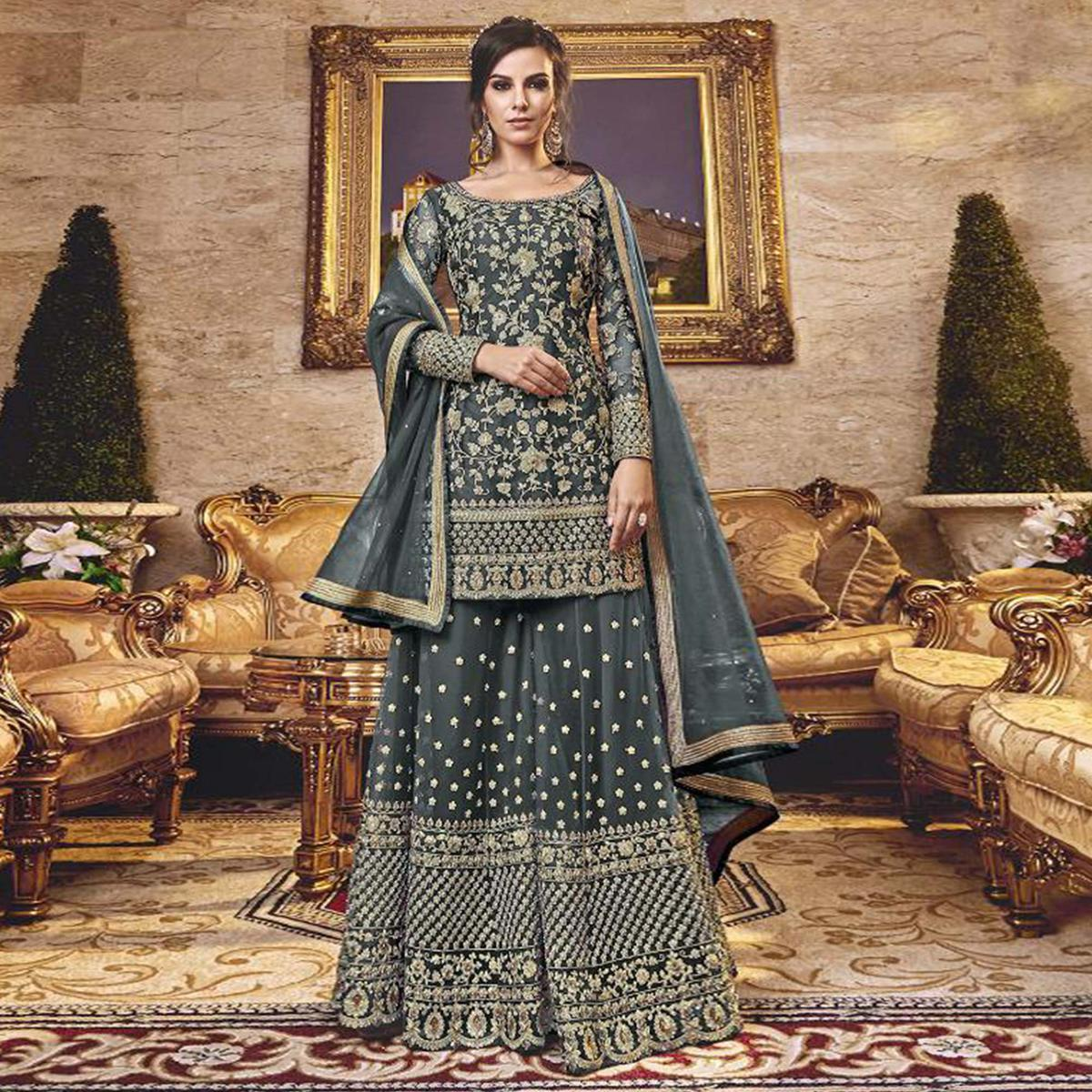 Ideal Grey Colored Party Wear Embroidered Net Sharara Suit