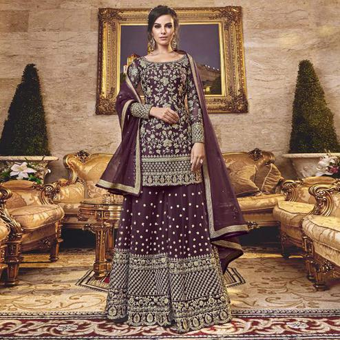 Lovely Purple Colored Party Wear Embroidered Net Sharara Suit