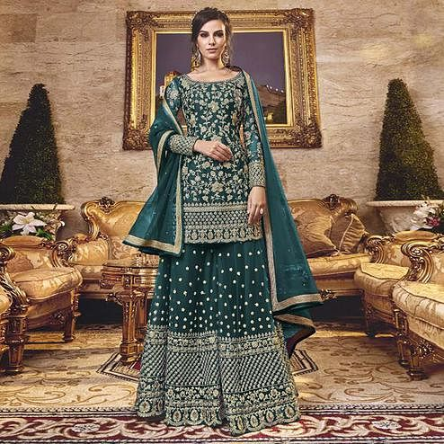 Majesty Green Colored Party Wear Embroidered Net Sharara Suit