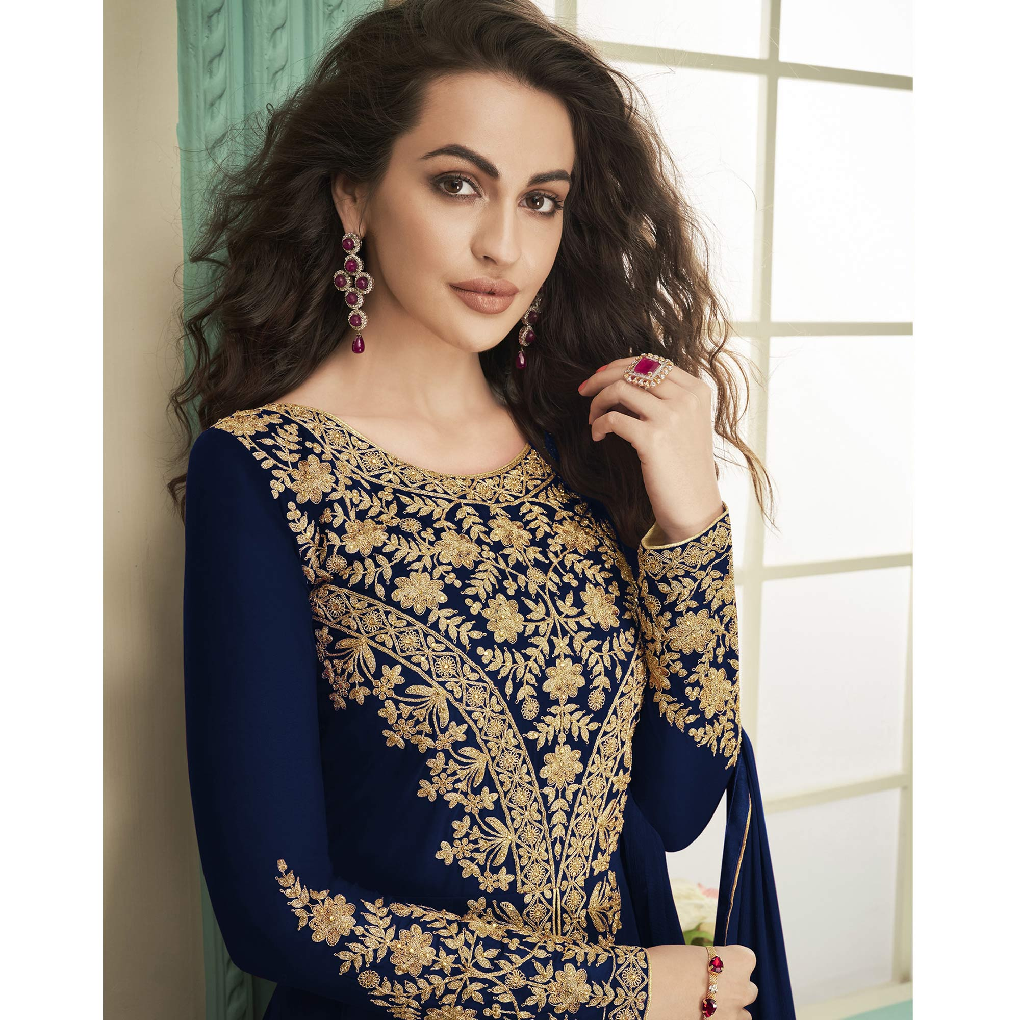 Ethnic Navy Blue Colored Party Wear Floral Embroidered Georgette Anarkali Suit