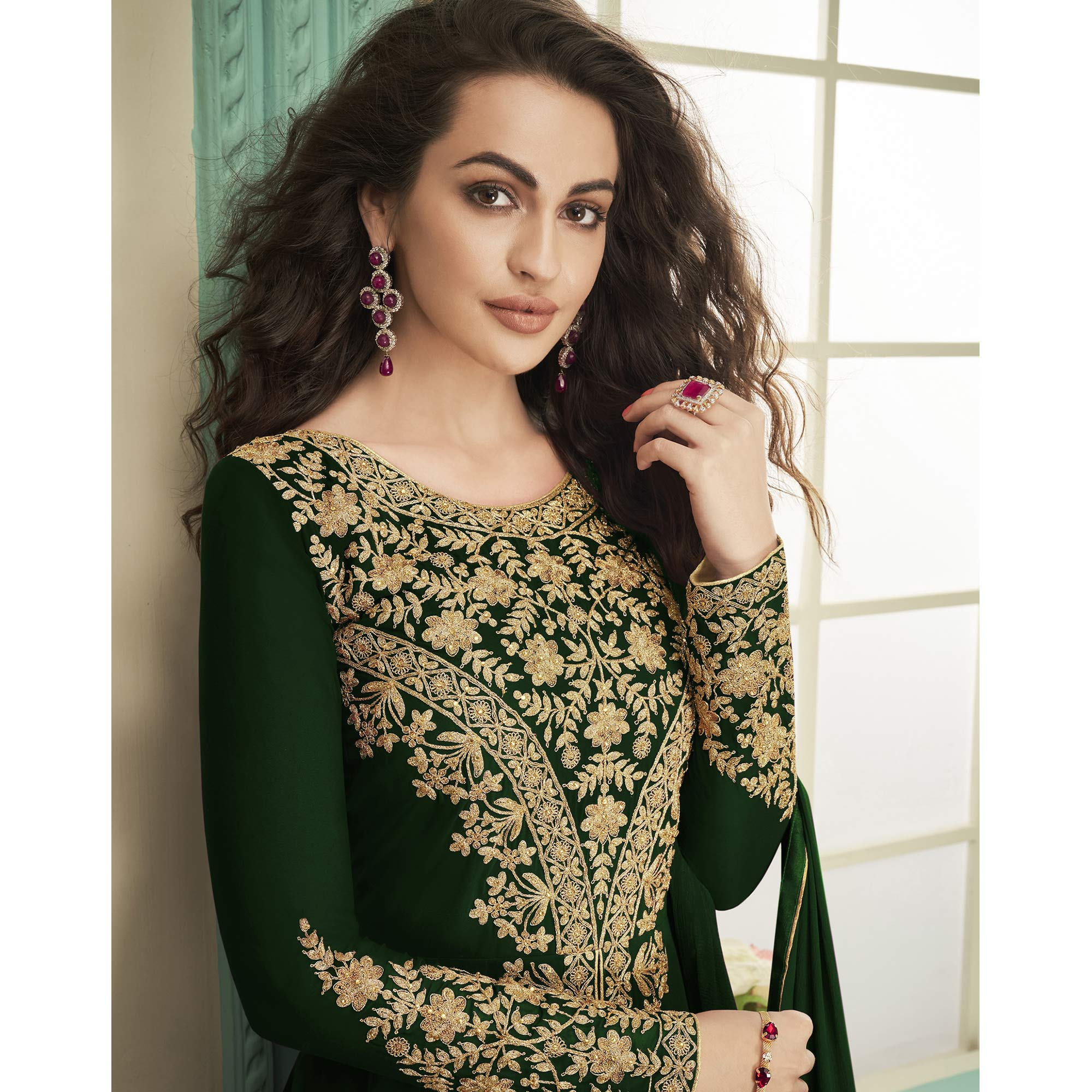 Ravishing Green Colored Party Wear Floral Embroidered Georgette Anarkali Suit