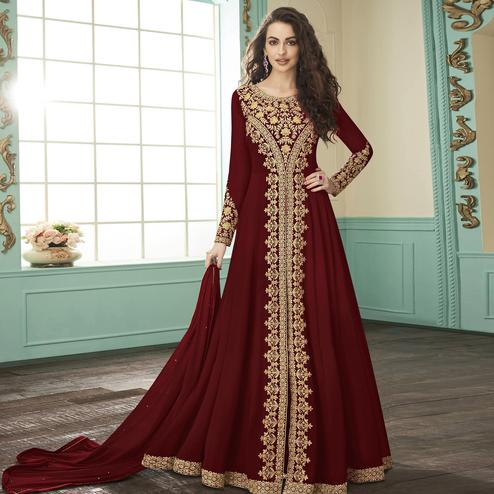 Staring Maroon Colored Party Wear Floral Embroidered Georgette Anarkali Suit