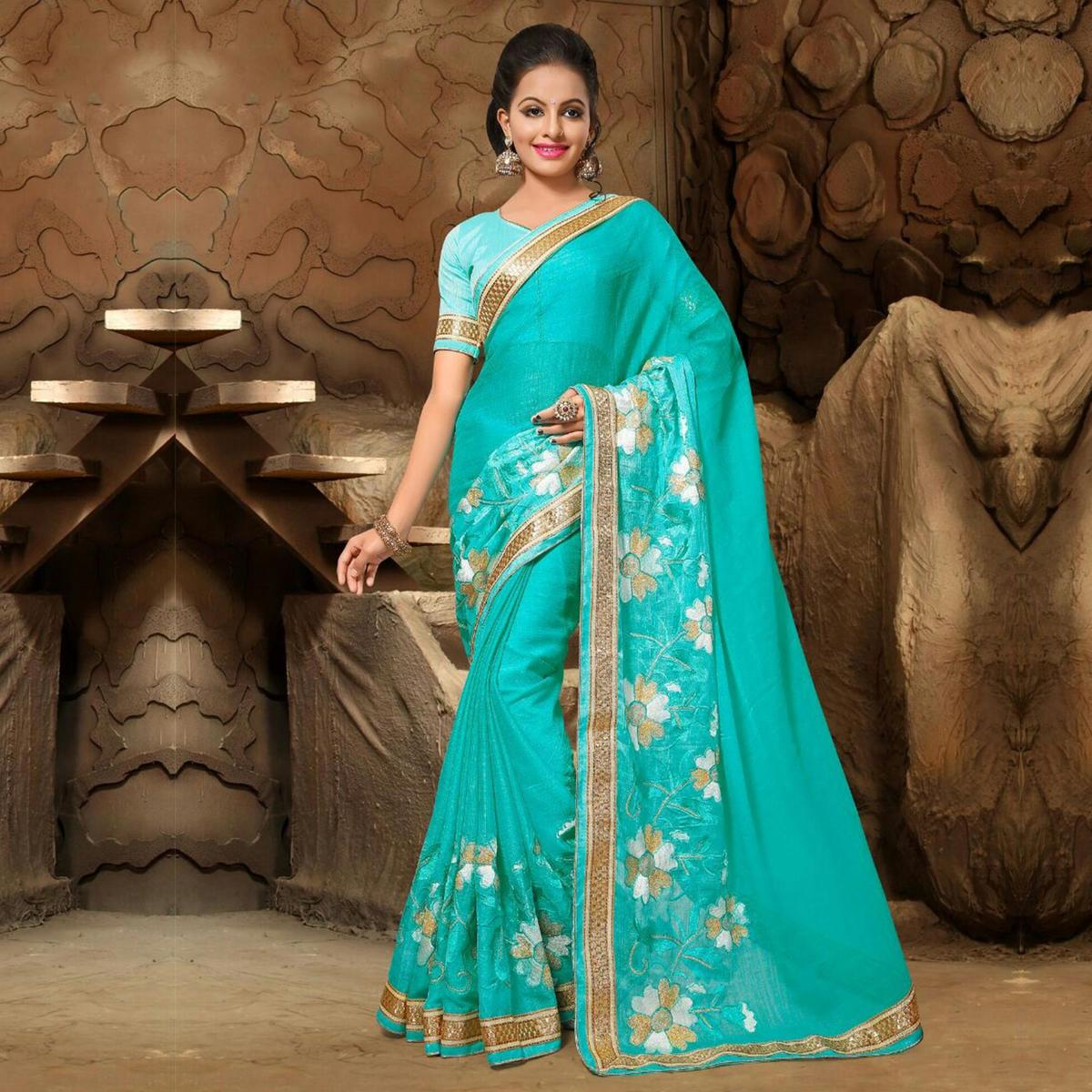 Turquoise Zari Embroidered Work Chiffon Saree
