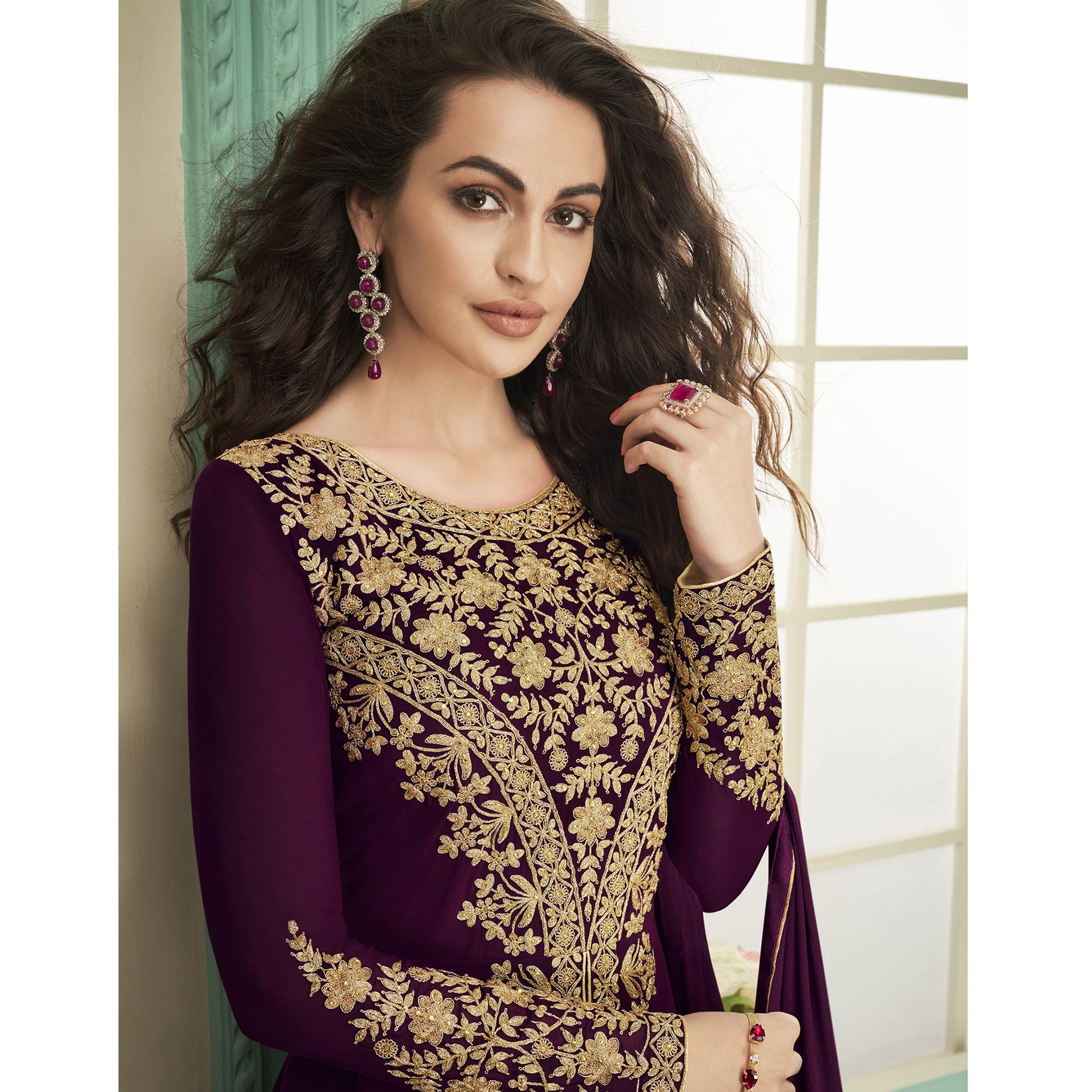 Dazzling Purple Colored Party Wear Floral Embroidered Georgette Anarkali Suit