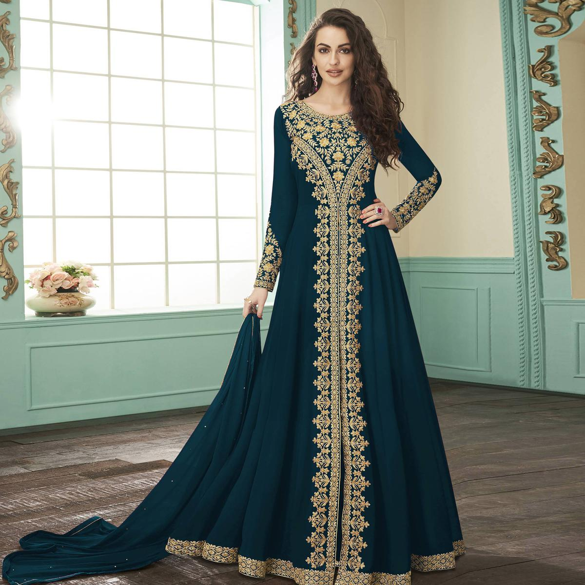 Surpassing Teal Blue Colored Party Wear Floral Embroidered Georgette Anarkali Suit