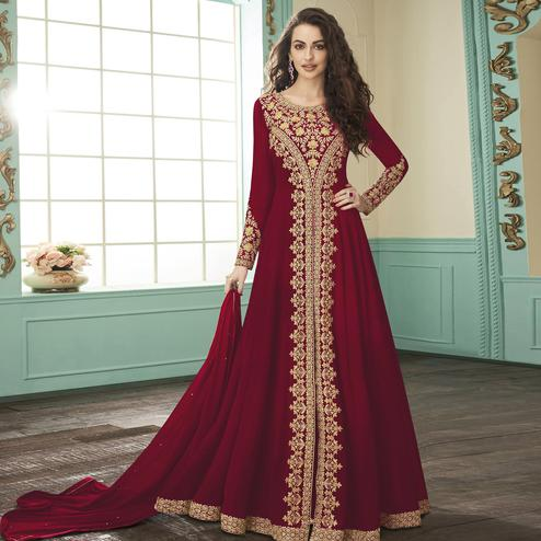 Preferable Red Colored Party Wear Floral Embroidered Georgette Anarkali Suit