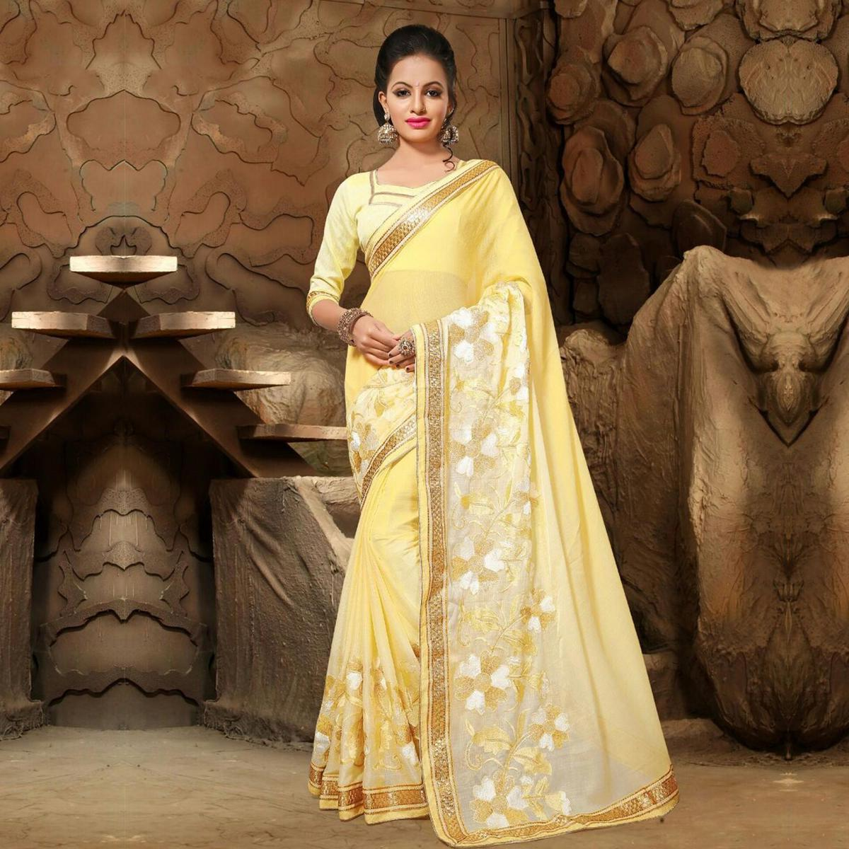Yellow Resham & Zari Embroidered Work Saree