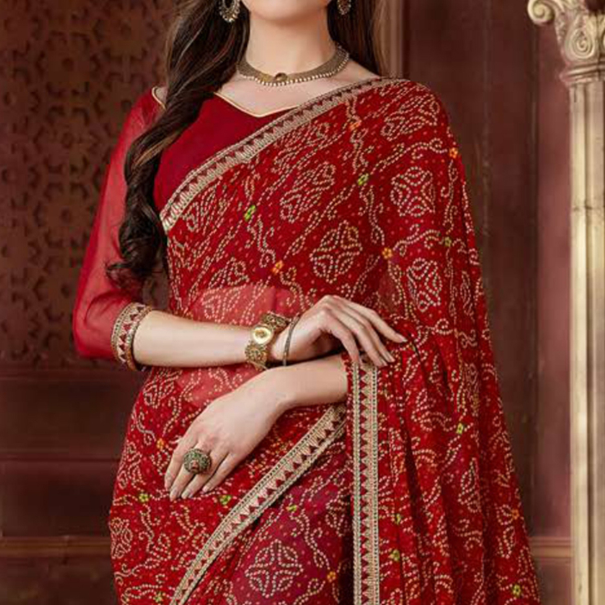 Trendy Maroon Colored Casual Wear Bandhani Printed Georgette Saree