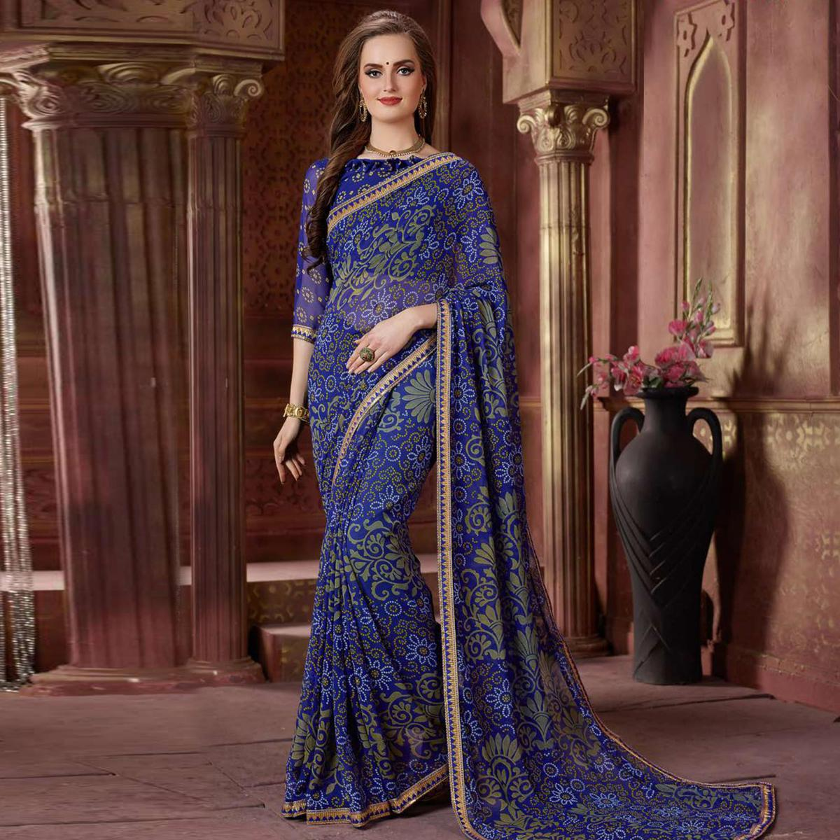 Radiant Blue Colored Casual Wear Bandhani Printed Georgette Saree