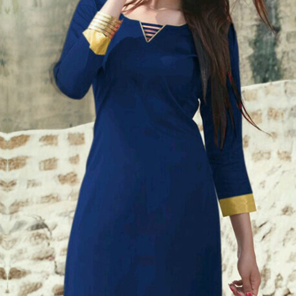 Blue Cotton Satin Dress Material