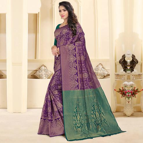 Prominent Purple Colored Festive Wear Woven Silk Jacquard Saree