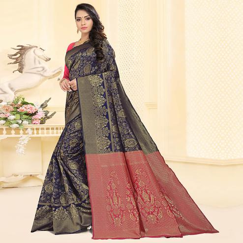 Exclusive Navy Blue Colored Festive Wear Woven Silk Jacquard Saree