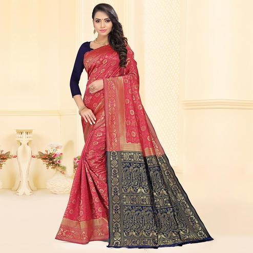 Glorious Pink Colored Festive Wear Woven Silk Jacquard Saree