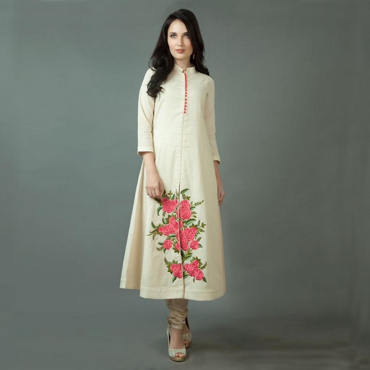 Cream Cotton Silk Front Slit Kurti