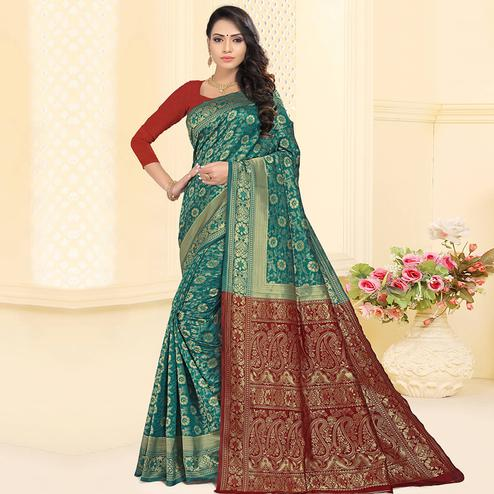 Attractive Rama Blue Colored Festive Wear Woven Silk Jacquard Saree
