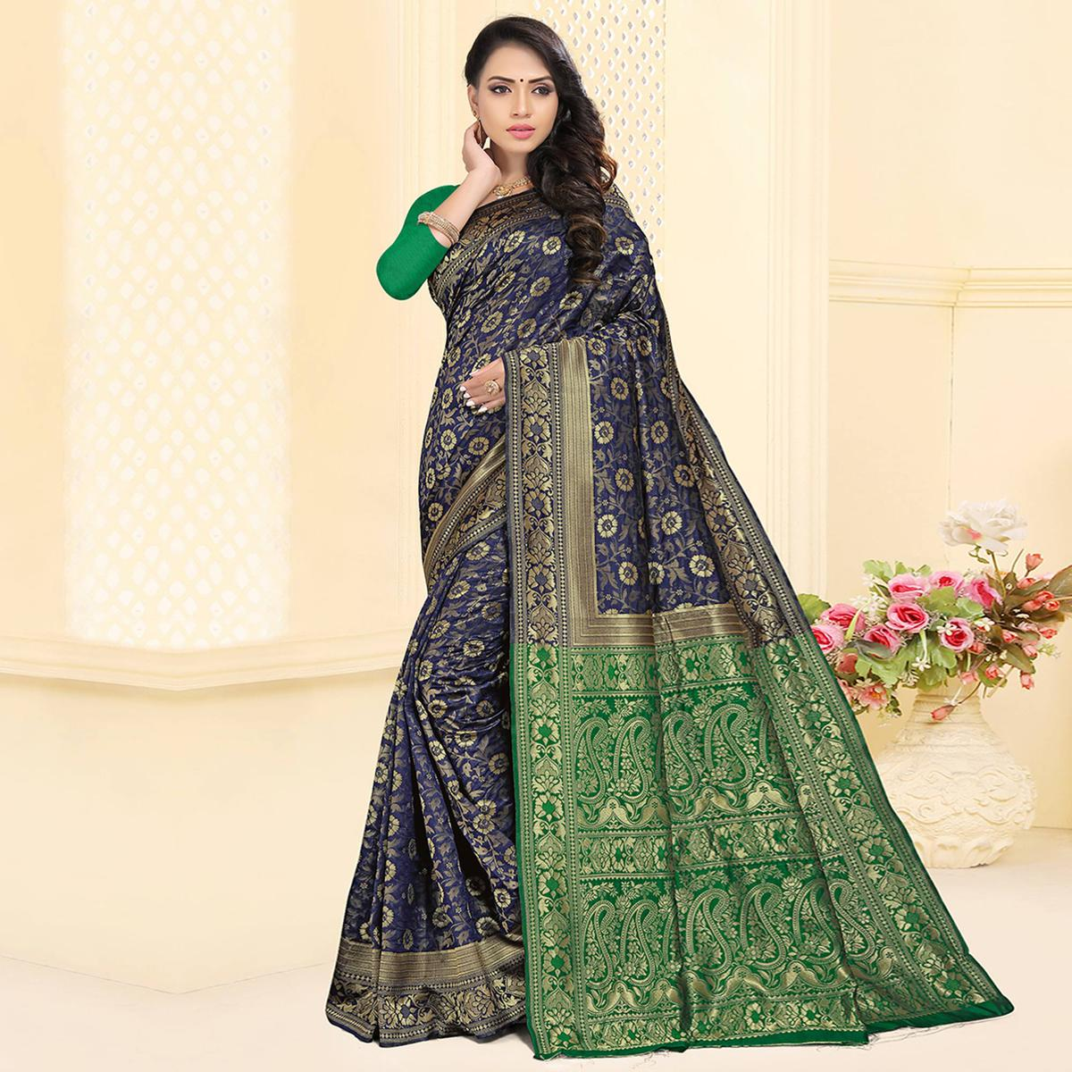 Beautiful Navy Blue Colored Festive Wear Woven Silk Jacquard Saree