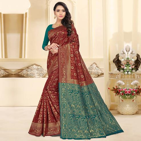 Graceful Maroon Colored Festive Wear Woven Silk Jacquard Saree